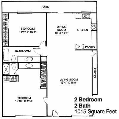 Glen Oaks 2 Bedroom 2 Bath Floorplans