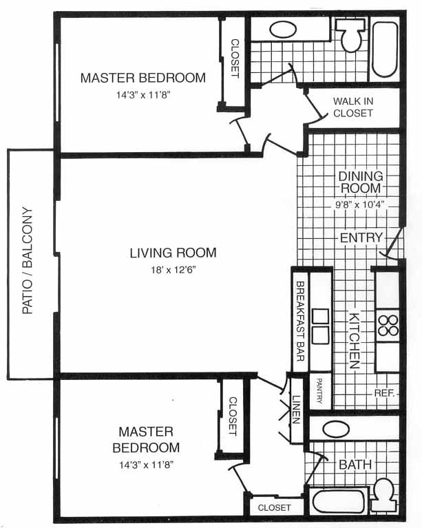San carlos dual master suite floorplans for Dual master bedroom floor plans